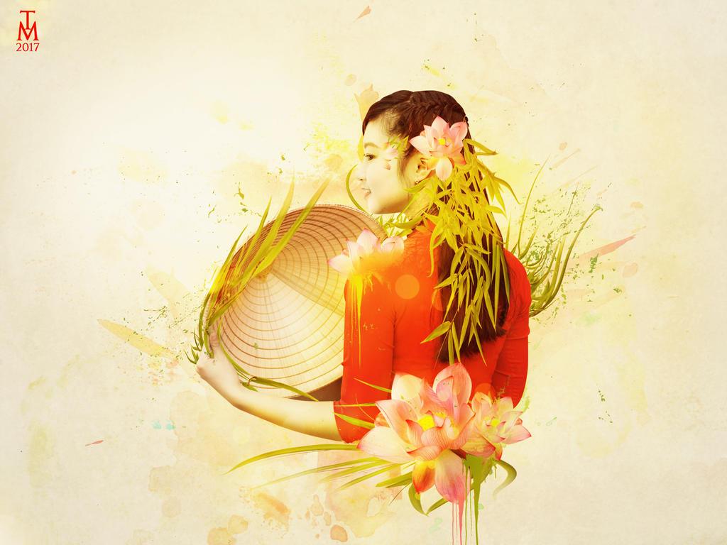 Abstract Vietnamese Woman Portrait