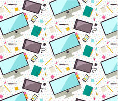 Flat Desk Icons Pattern by tashamille