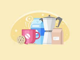 Coffee Scene in Morning by tashamille