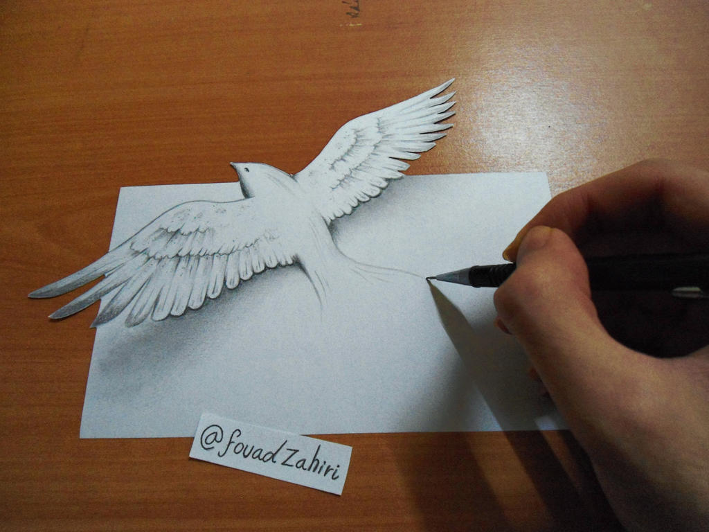 3d bird drawing by fouadzahiri