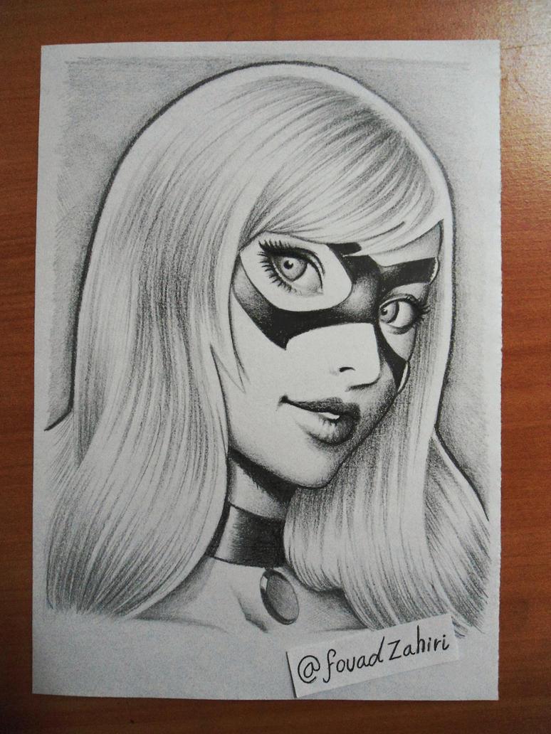 black cat drawing by fouadzahiri
