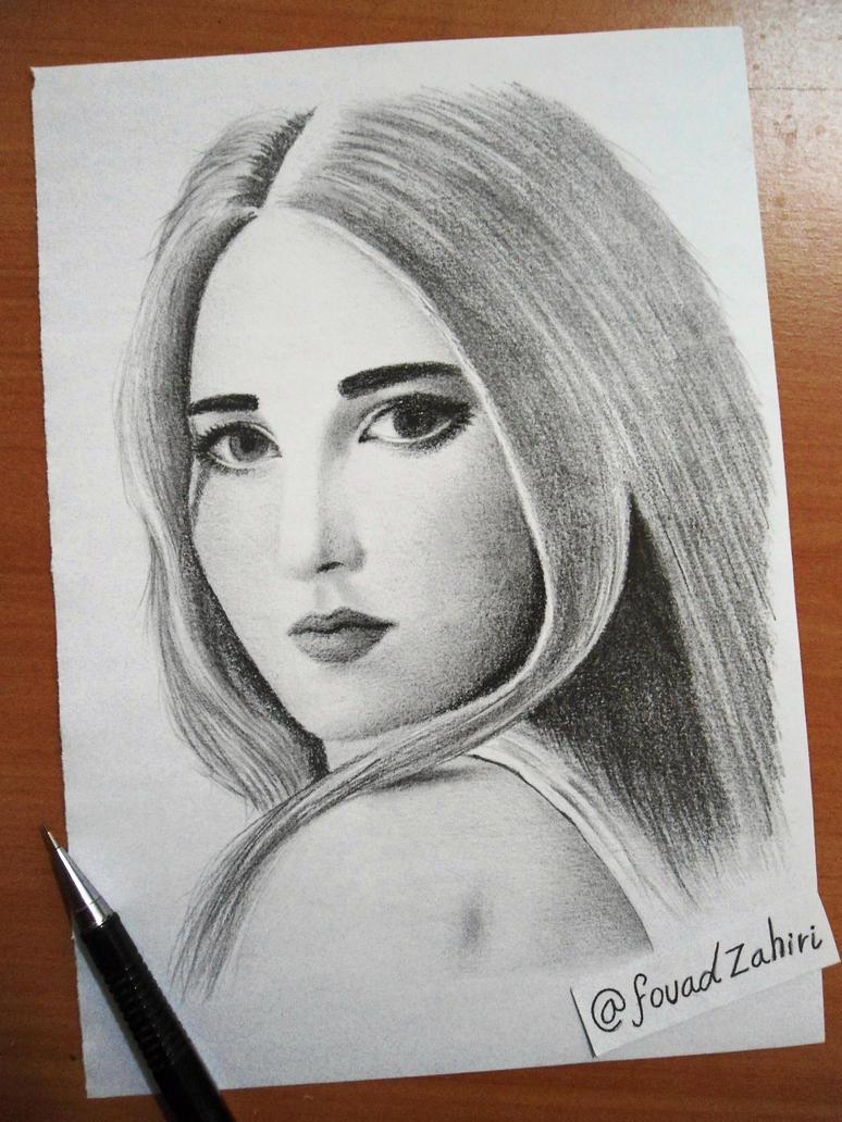portrait drawing of julia vans by fouadzahiri
