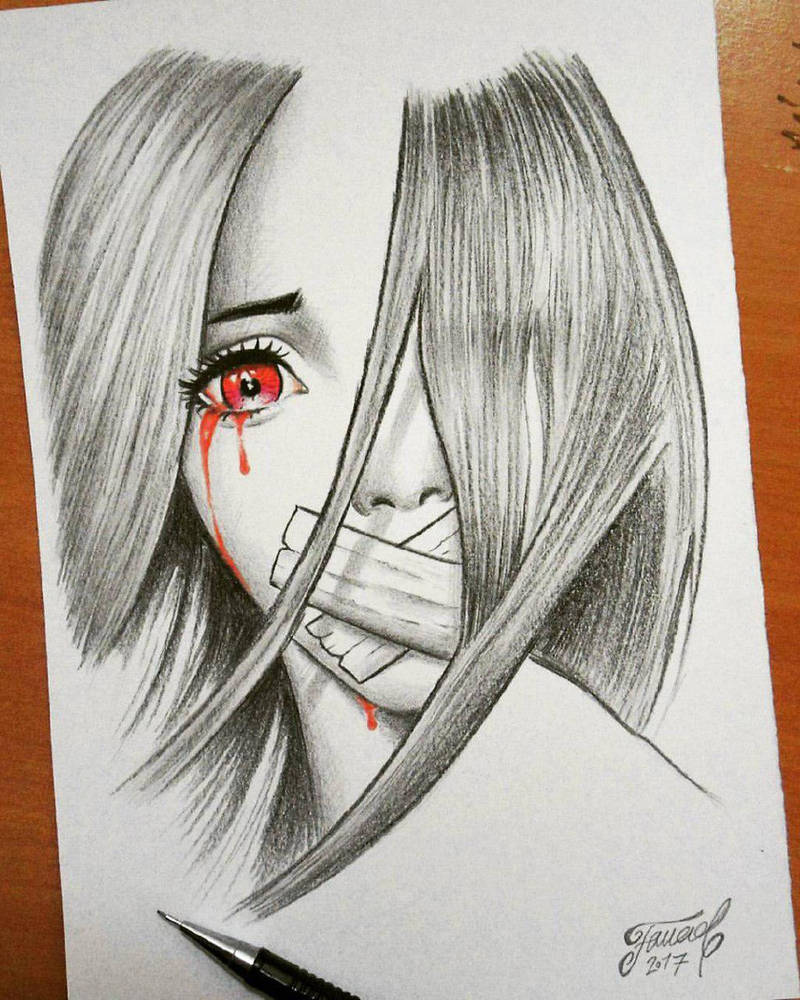 Sad girl drawing by fouadzahiri