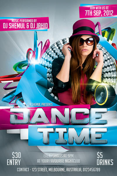 Dance Time Party Flyer Template By Shemul On Deviantart