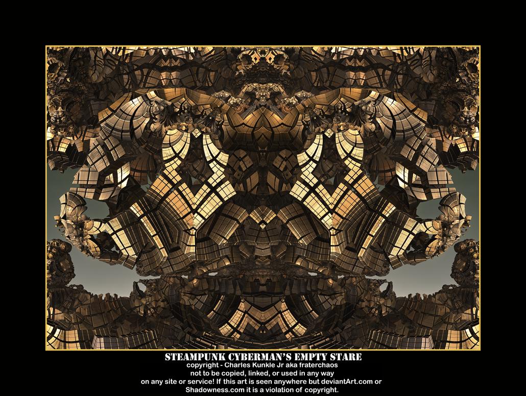steampunk cyberman's empty stare by fraterchaos
