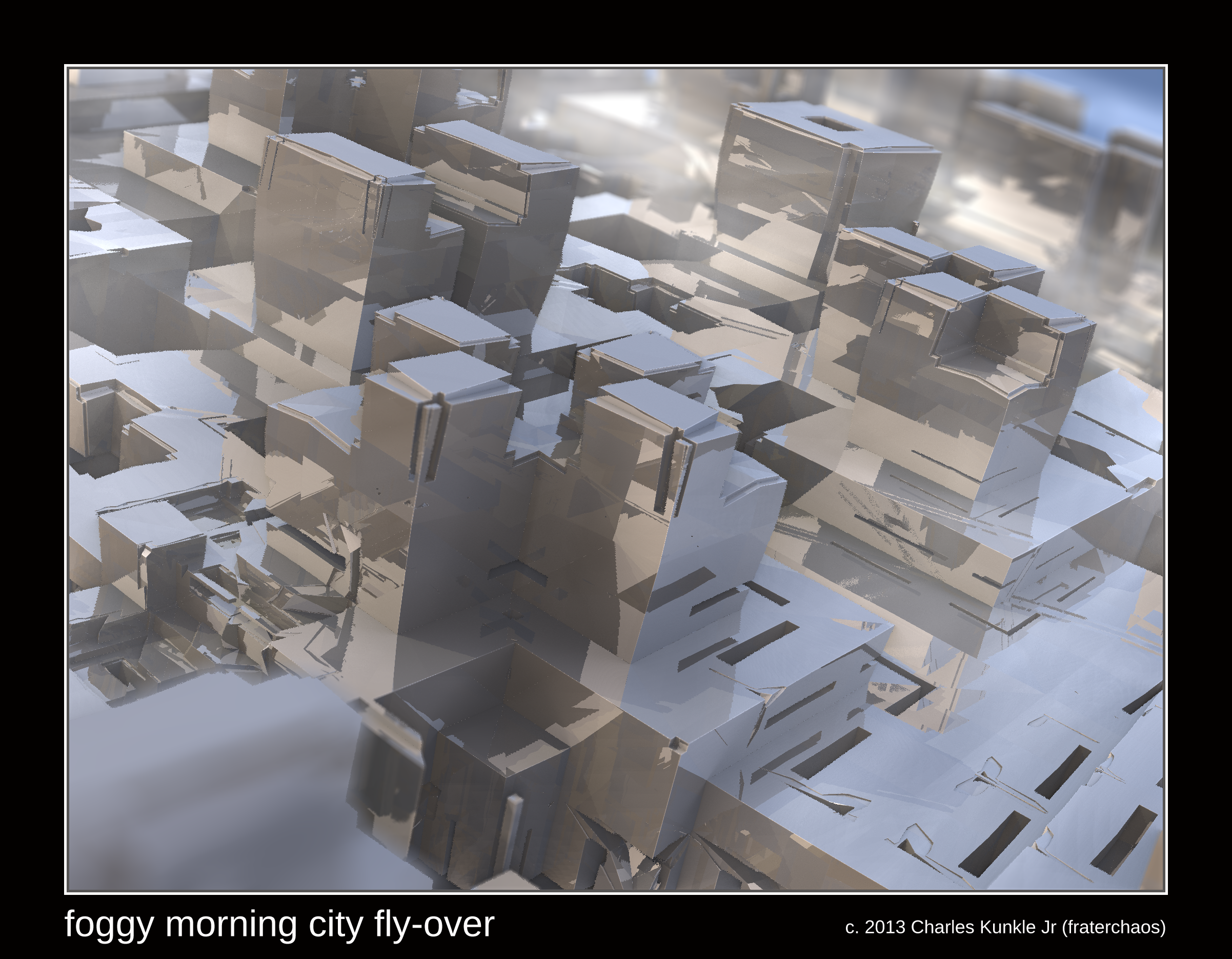 foggy morning city fly-over by fraterchaos
