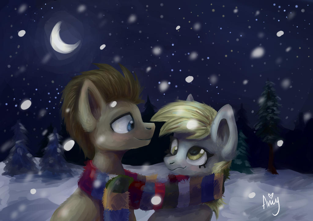 Winter night with Doctor ans Derpy by Amy-Gamy