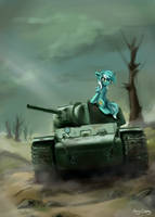 Pony on the tank by Amy-Gamy