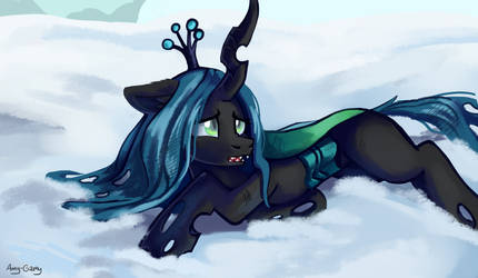 The Queen Chrysalis in snow by Amy-Gamy