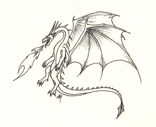 Fire-Breathing Dragon by WyvernFlames on DeviantArt Drawings Of Dragons Blowing Fire For Kids