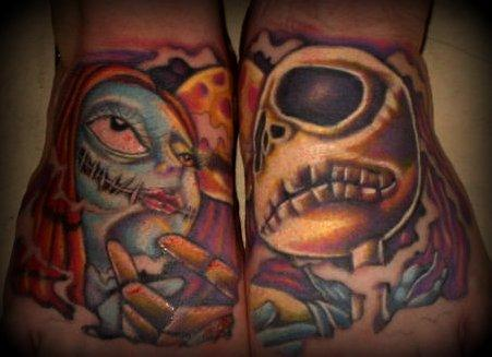 Jack and sally tattoo color by mmfjpf on deviantart for Jack skellington and sally tattoos