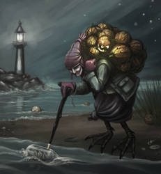 A Sea Witch Gathering Lanterns by nilwilnil