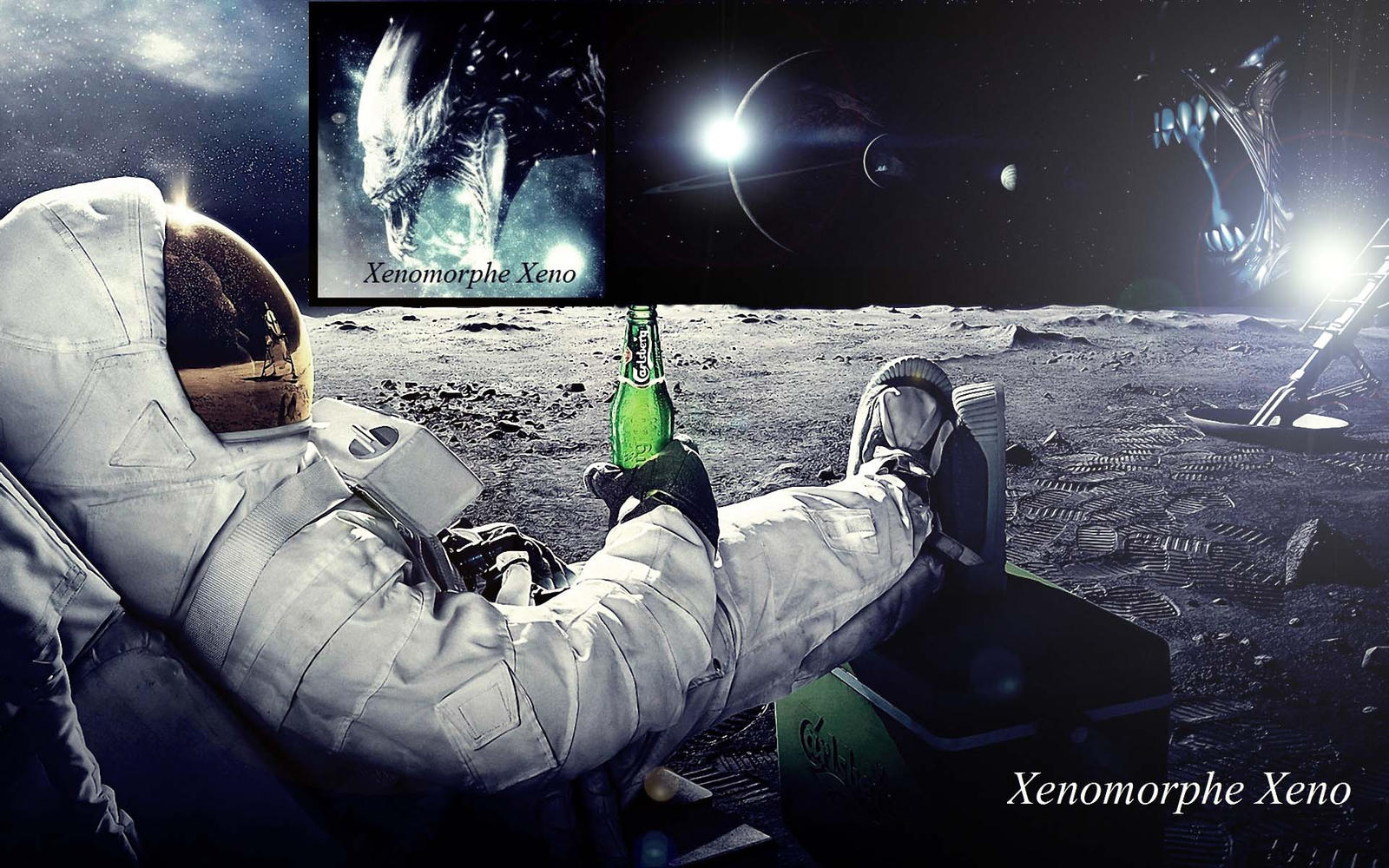 space scene astronaut chilling on the moon Xen by ...