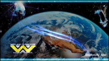 earth planet space aliens vs predator war II by Xenomorphe-Xeno