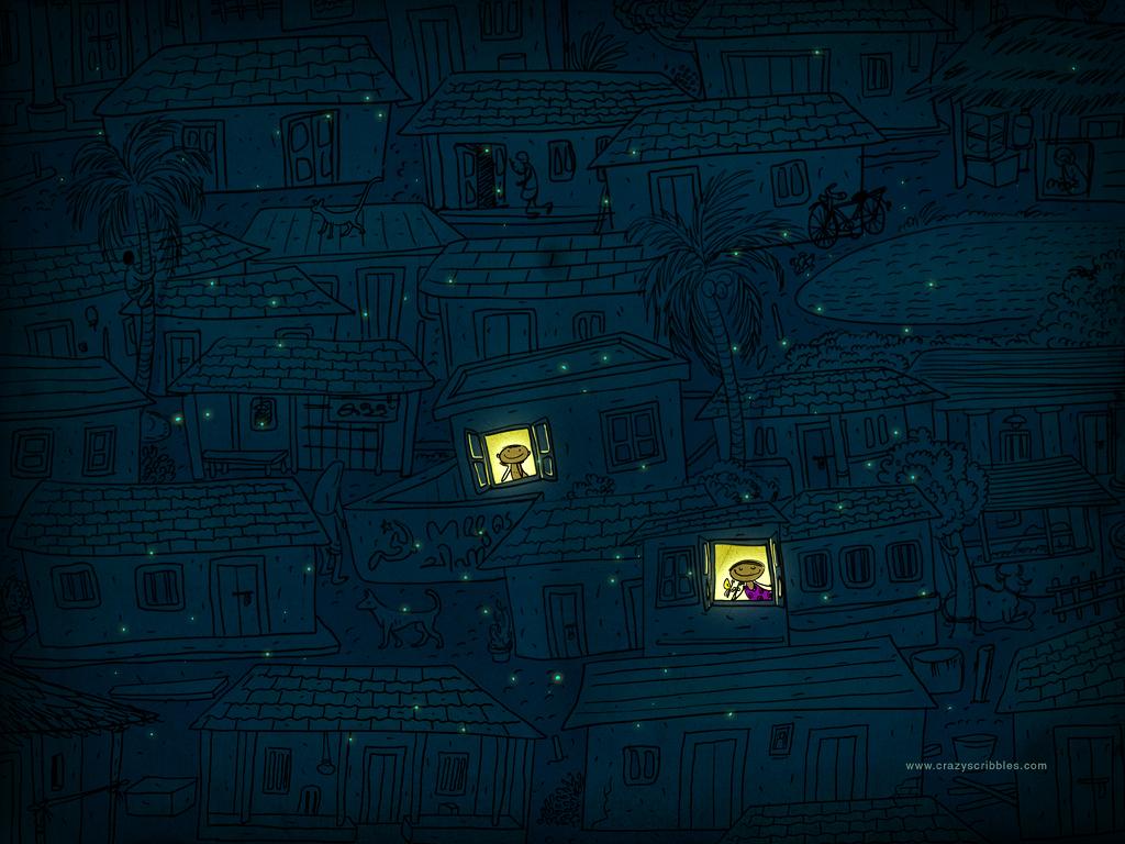 Moonlit village by anoop-pc