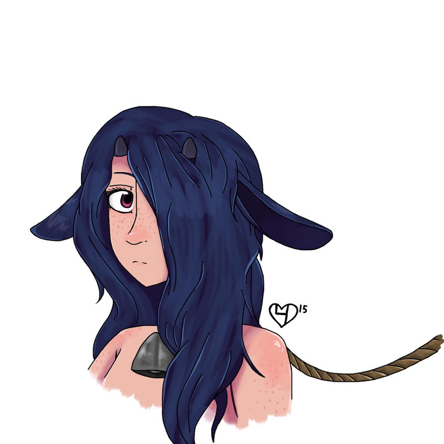Goat lady without white overlay by lizfoxyartis