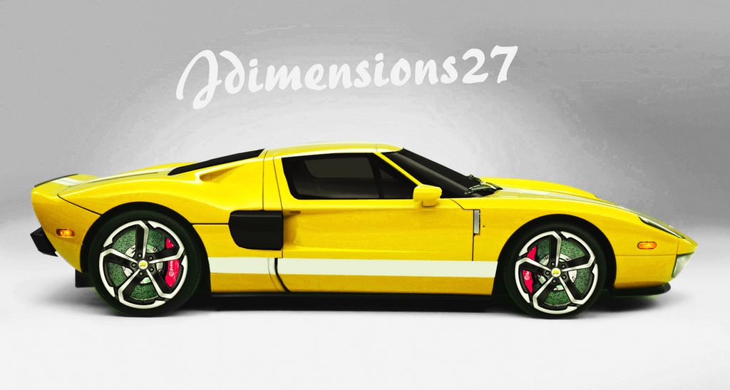 Ford Gt Side Yellow By Jdimensions
