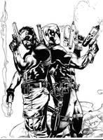 deadpool-punisher inks by JosephLSilver