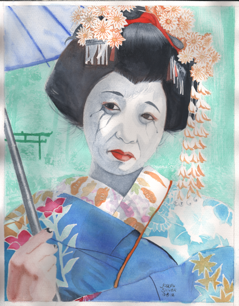 Geisha watercolor by JosephLSilver