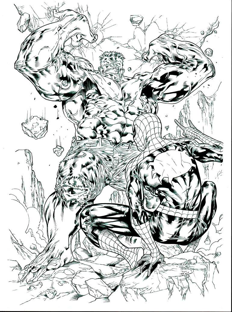 Hulk Bilder Zum Ausmalen: Spiderguile Spiderman Hulk Inks By JosephLSilver On DeviantART