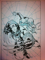 Joe Mad Wolverine Spider Man inks WIP by JosephLSilver