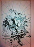 Joe Mad Wolverine Spider Man inks WIP