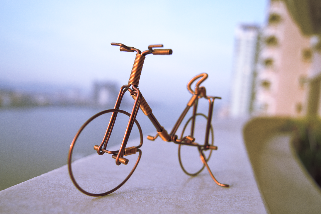 Copper wire bycicle by gwarp on deviantart for Wire art projects