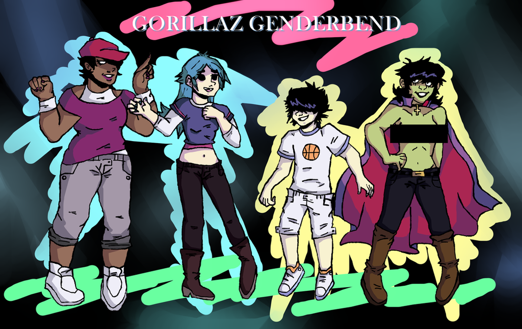 Gorillaz Genderbend (Censored) by Bzwel-Delta