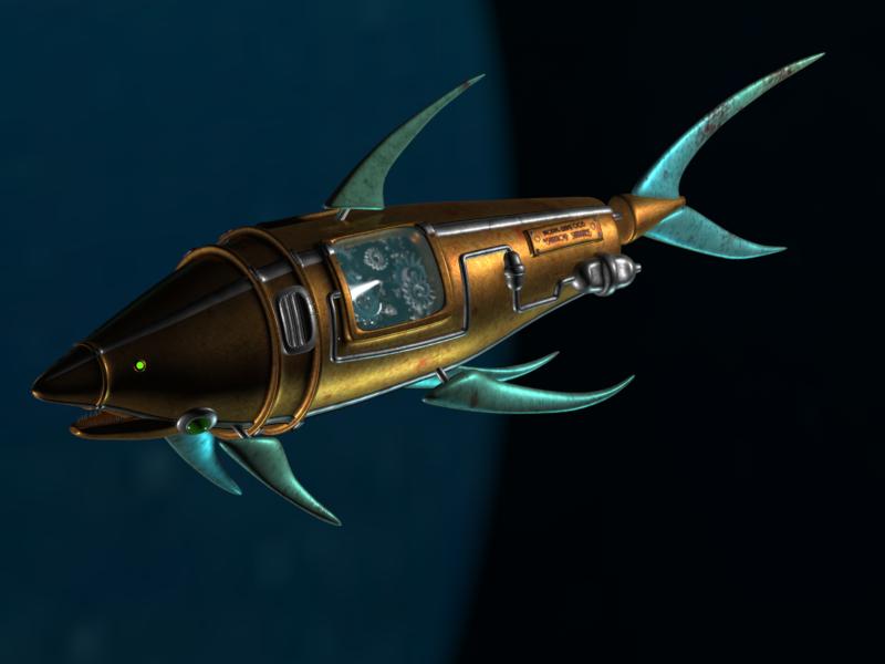 SteamPunk Mechanic Shark 3D Bioshock inspired by HaizeaShepard