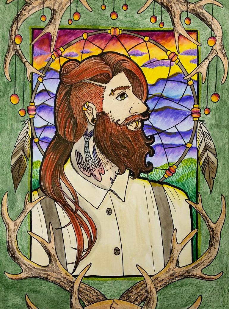Hunter Art Nouveau Portrait by JenKristo