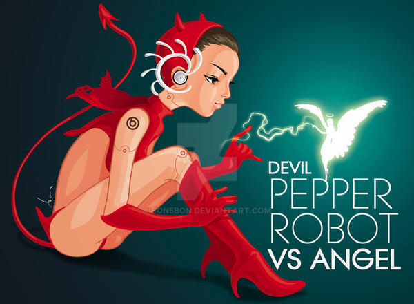 Devil Pepper Robot vs Angel by bon5bon