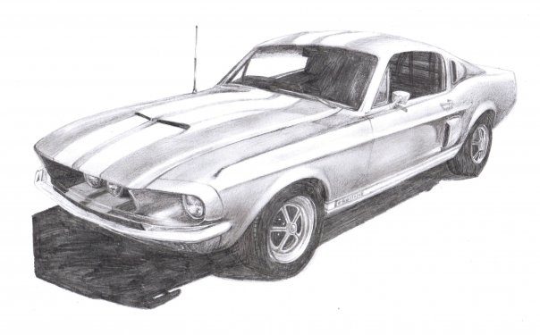 Mustang gt500 pencil drawing 1 by moggo23