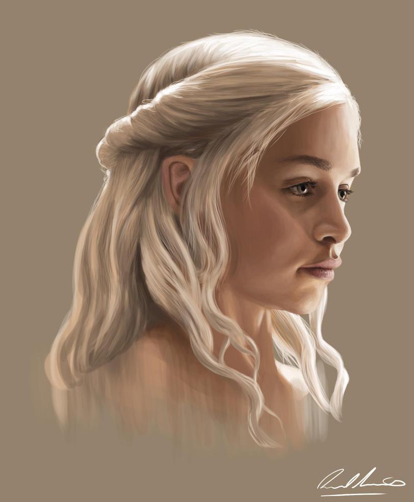 Daenerys Targaryen Portrait by moggo23