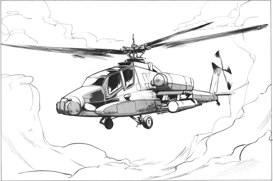 Apache Helicopter Draw...