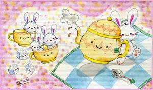 Valentine's Bunny Teaparty by yuki-the-vampire