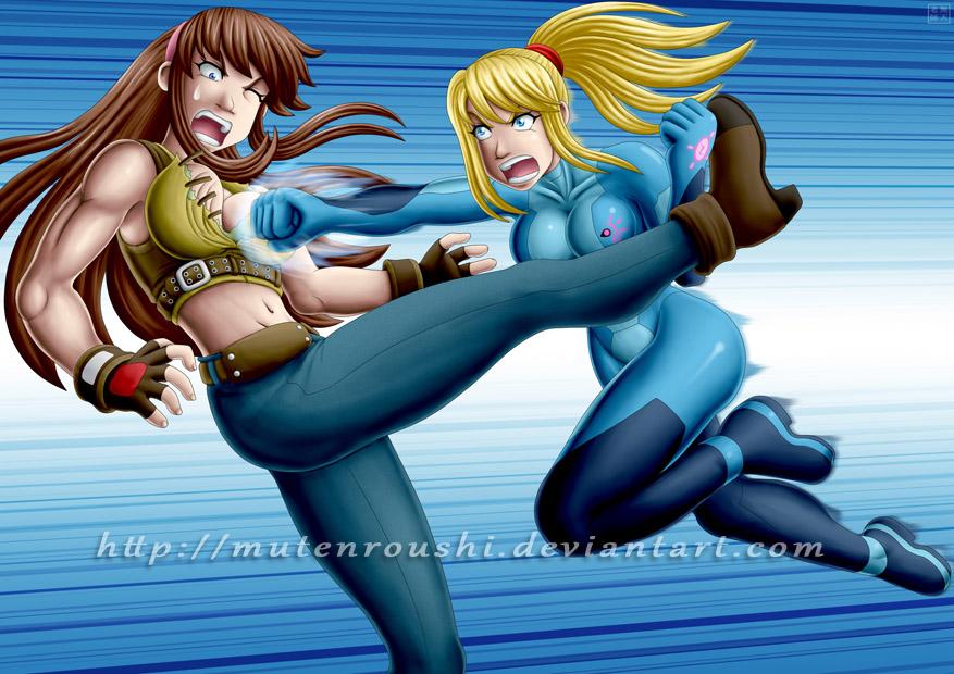 Hitomi vs Samus by Mutenroushi