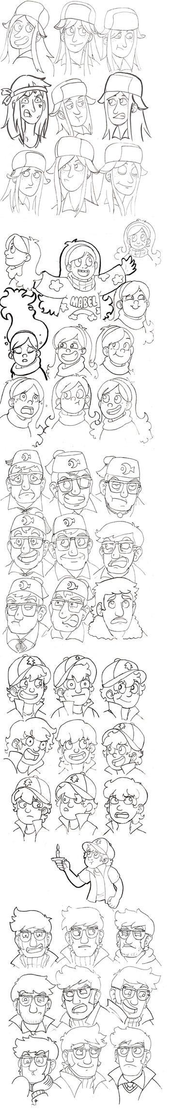 Gravity Falls Faces - line art by batteryfish