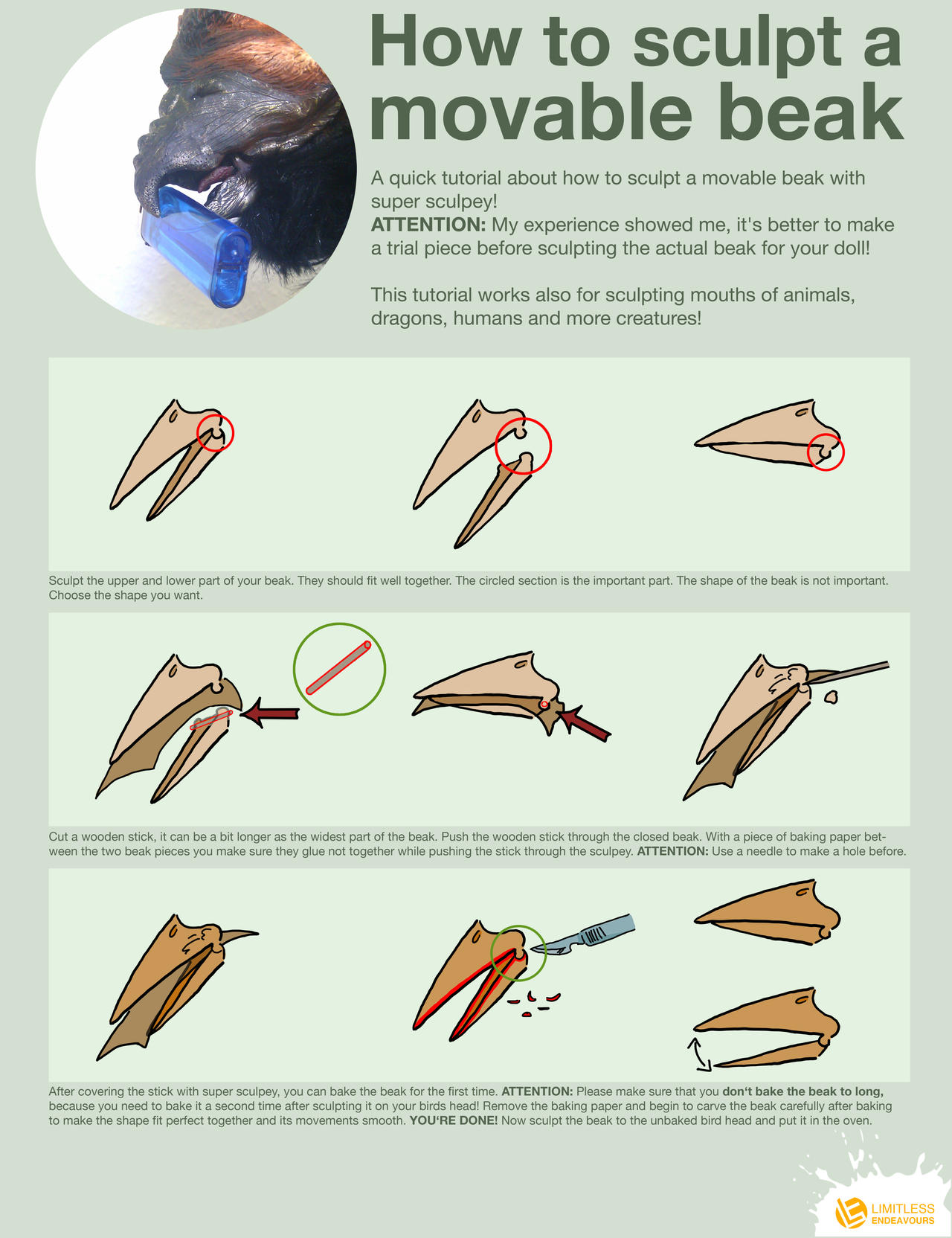 How to sculpt a movable beak