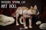 Tattooed Sphynx Cat Art Doll