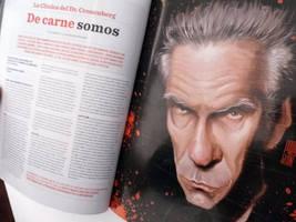 Caricatura de David Cronenberg, en Revista VLOV