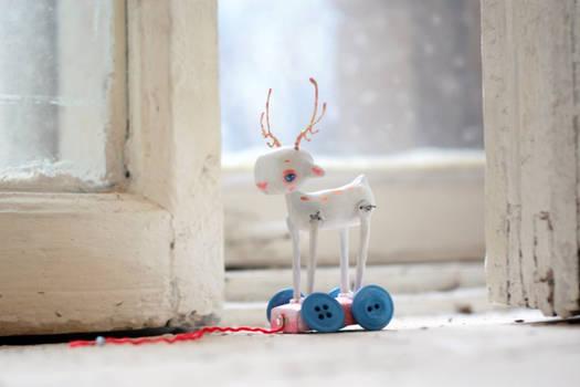 white deer white winter