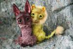 bat fox and dandelion