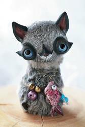 raccoon cat with fish by da-bu-di-bu-da