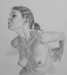 Pencil drawing of a nude girl by LateStarter63