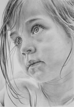 Pencil portrait of a young girl