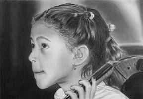 Pencil portrait of a young cellist by LateStarter63
