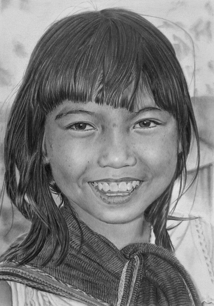 Pencil Portrait Of A Smiling Vietnamese Girl By