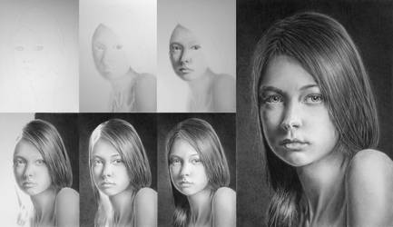 Pencil portrait of Julia - Drawing process by LateStarter63