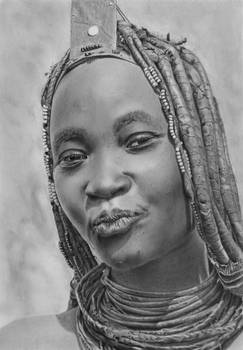 Pencil portrait of a Himba Woman