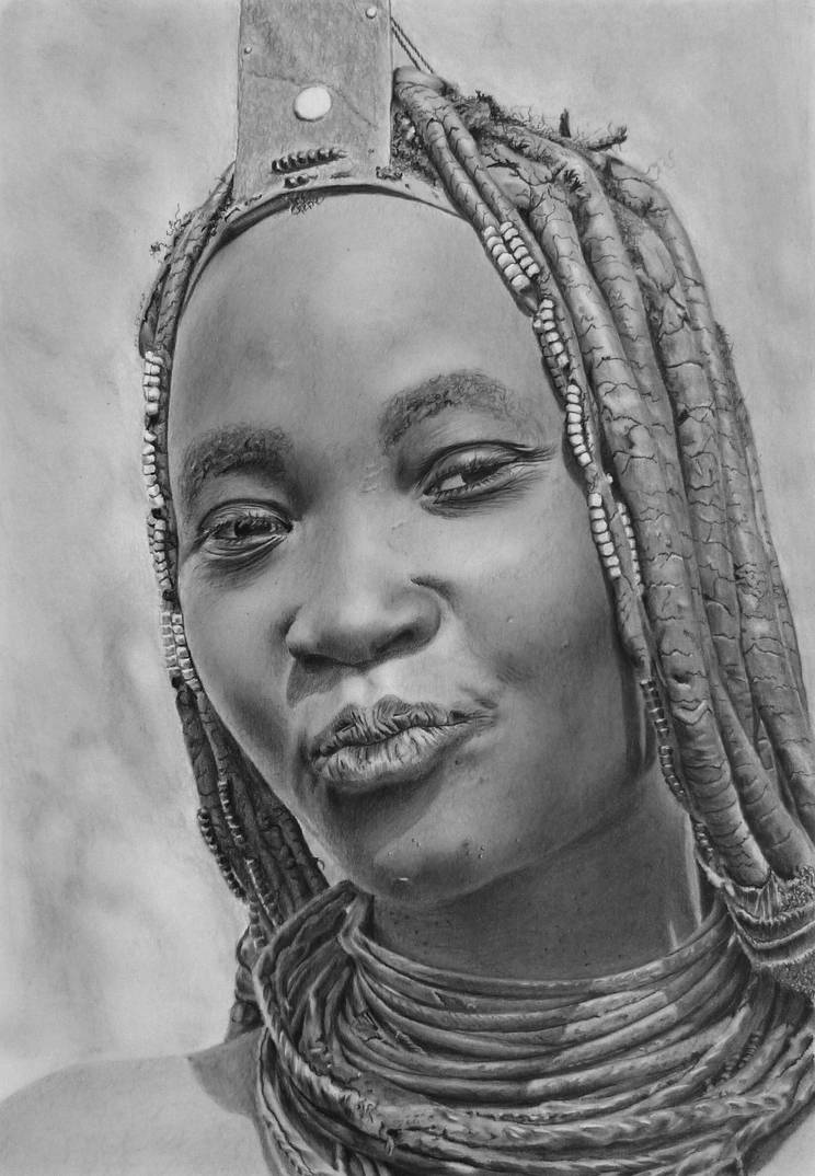 Pencil portrait of a Himba Woman